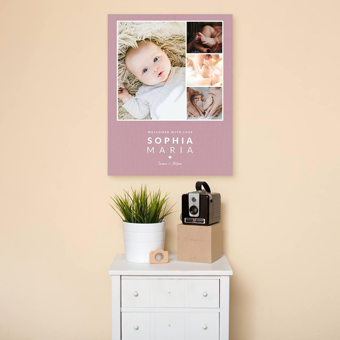 Tablou Personalizat cu 4 poze · Welcome Baby_CUST338_4
