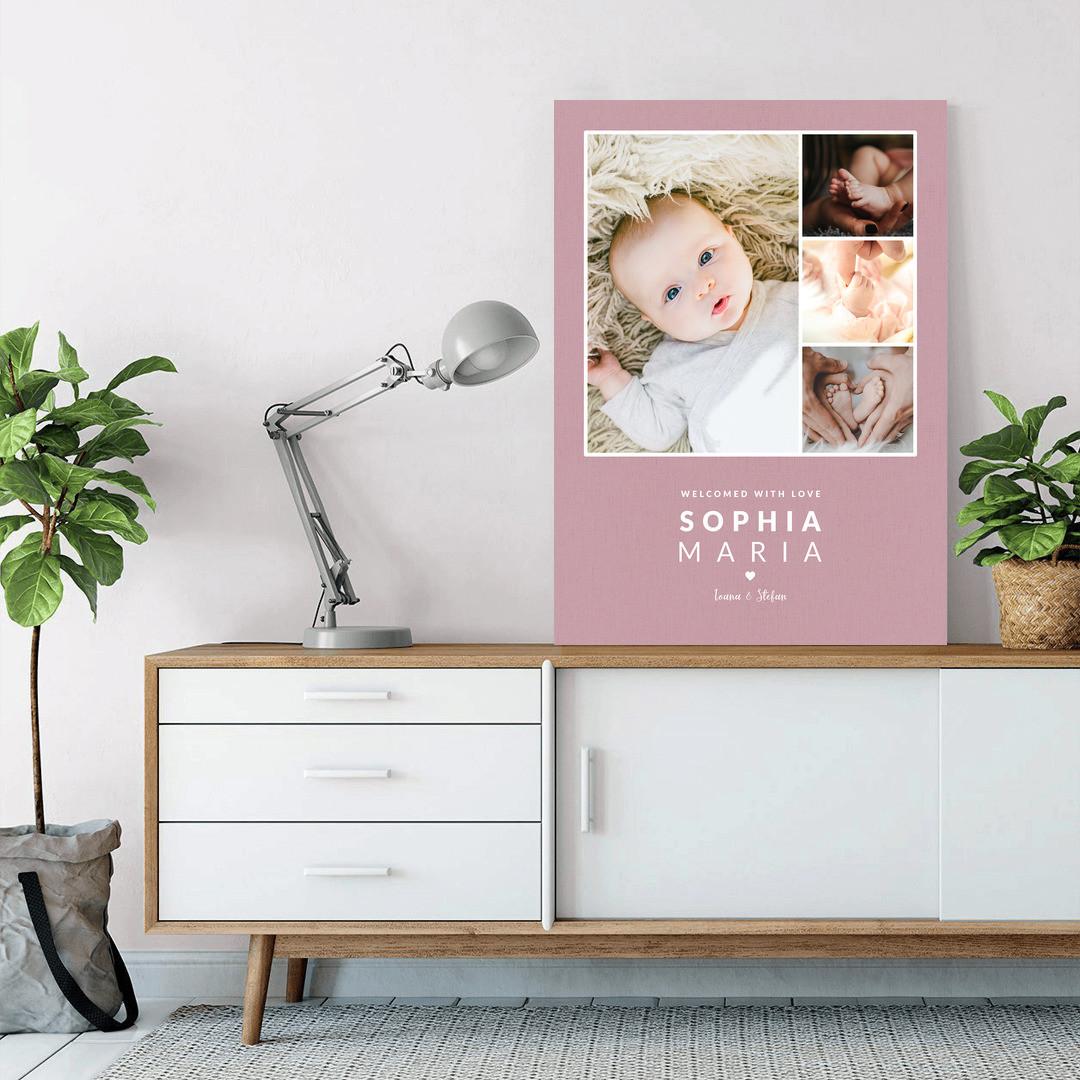 Tablou Personalizat cu 4 poze · Welcome Baby_CUST338_2