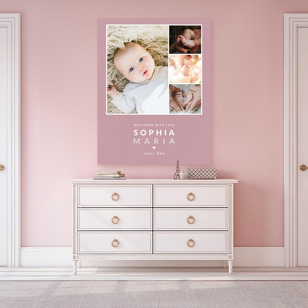 Tablou Personalizat cu 4 poze · Welcome Baby_CUST338_1