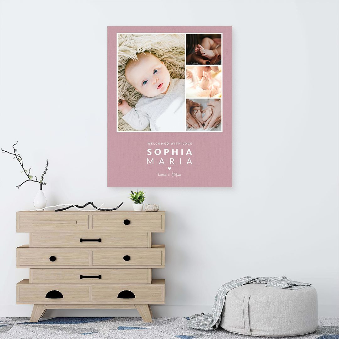 Tablou Personalizat cu 4 poze · Welcome Baby_CUST338_3