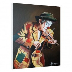 Clown playing on violin