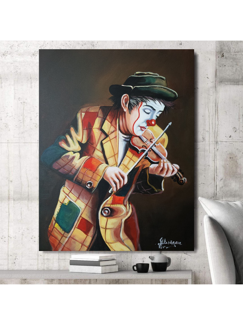 Clown playing on violin_CLN640_3